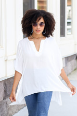 Model wearing the High-Low Oversized Blouse