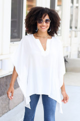 High-Low Oversized Blouse Front View