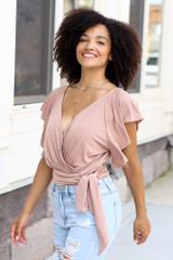 Wrap V-Neck Bodysuit in Taupe Side View