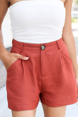 Rust - cute high waisted summer shorts at dress up boutique