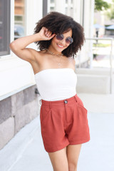 Satin High Waist Shorts in Rust Front View