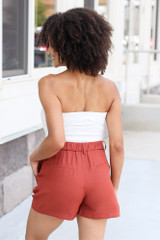 Satin High Waist Shorts in Rust Back View