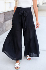Black - Close Up of the Tie-Front Wide Leg Pants