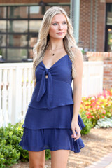 Tie-Front Tiered Mini Dress from Dress Up