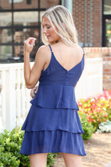 Tie-Front Tiered Mini Dress Back View