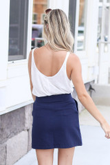 Side Button Mini Skirt Back View