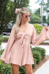 Blush - Tie-Front Bell Sleeve Romper