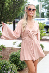 Tie-Front Bell Sleeve Romper Front View