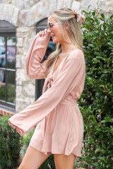 Tie-Front Bell Sleeve Romper Side View