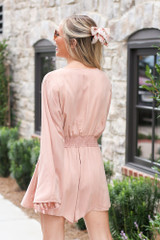 Tie-Front Bell Sleeve Romper Back View