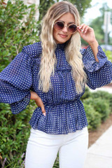 Navy - Cute Polka Dot Blouse for work outfits