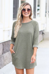 Plush Sweatshirt Dress in Olive Front View