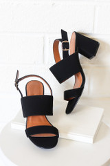 Flat Lay of the Double Strap Block Heels in Black