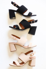 Black - Double Strap Block Heels