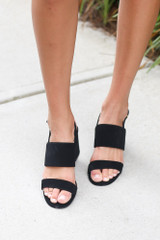 Front View of the Double Strap Block Heels in Black