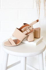 Nude - Cute Double Strap Block Heels