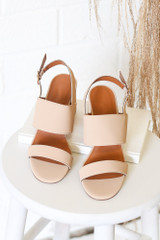 Flat Lay of the Double Strap Block Heels in Nude