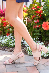 Model wearing the Double Strap Block Heels in Nude