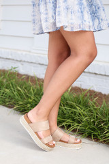 Model wearing the Platform Espadrilles in Natural