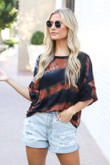 Tie-Dye Ruffle Sleeve Top Front View