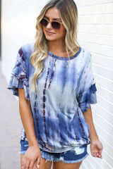 Blue - Tie-Dye Ruffle Sleeve Top