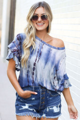 Blue - Tie-Dye Ruffle Sleeve Top from Dress Up