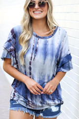 Close Up of the Tie-Dye Ruffle Sleeve Top