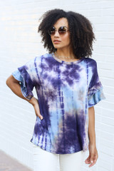 Purple - Tie-Dye Ruffle Sleeve Top