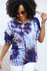 Purple - Close Up of the Tie-Dye Ruffle Sleeve Top