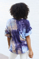 Tie-Dye Ruffle Sleeve Top Back View