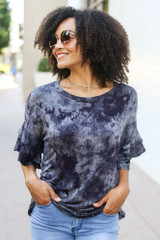Model wearing the Tie-Dye Ruffle Sleeve Top