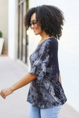 Tie-Dye Ruffle Sleeve Top Side View