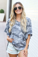 Oversized Camo Top Front View
