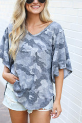 Close Up of the Oversized Camo Top