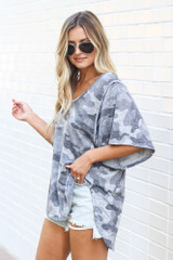 Oversized Camo Top Side View