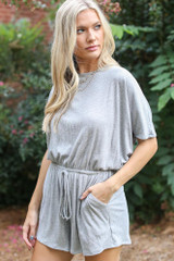 Heather Grey - Model wearing the Ribbed Knit Romper