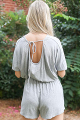 Heather Grey - Ribbed Knit Romper in Heather Grey Back View