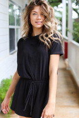 Black - Ribbed Knit Romper