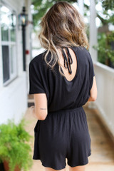Black - Ribbed Knit Romper from Dress Up