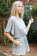 Dress Up model wearing the Ribbed Knit Romper
