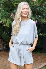Ribbed Knit Romper in Heather Grey Front View