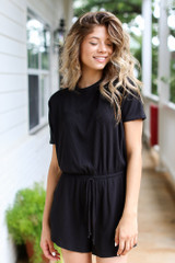 Ribbed Knit Romper in Black Side View