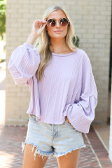 Lavender - Oversized Ribbed Knit Top