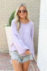 Model wearing the Oversized Ribbed Knit Top