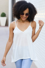 White - Model wearing the Oversized Tank