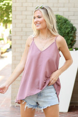 Blush - Model wearing the Oversized Tank with denim shorts
