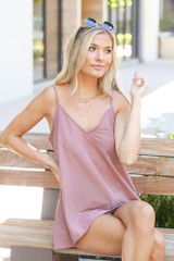 Blush - Dress Up model wearing the Oversized Tank with denim shorts