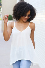 Oversized Tank in White Front View