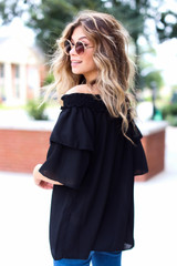Off-the-Shoulder Blouse in Black Side View