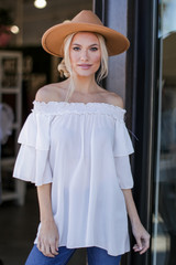 White - Dress Up model wearing an Off-the-Shoulder Blouse